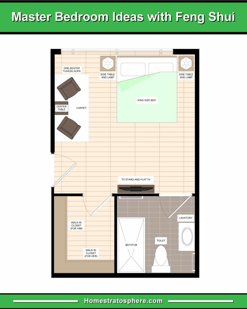 Feng Shui primary bedroom in rectangle layout with two sitting chairs, walk-in-closet and primary bathroom.