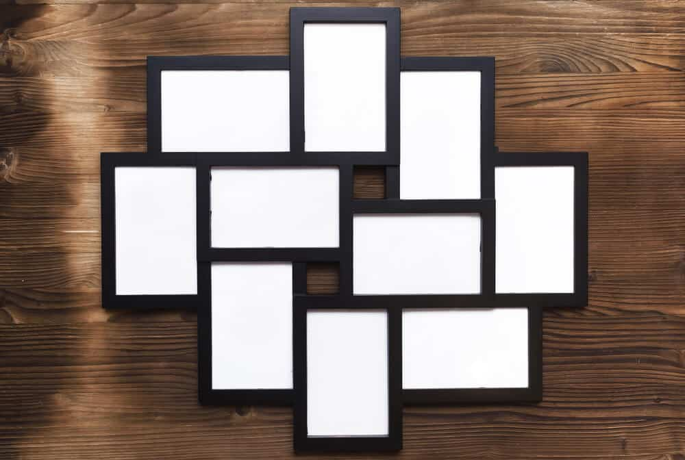 Collage picture holder with black frames.