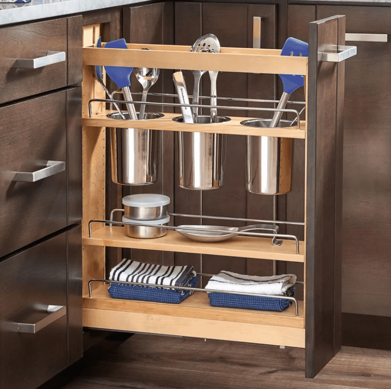 Custom pull-out cabinet utensil organizer-min