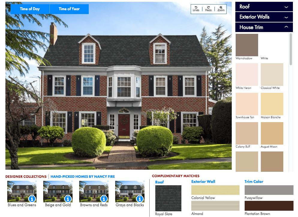 Example of a home exterior visualizer software option