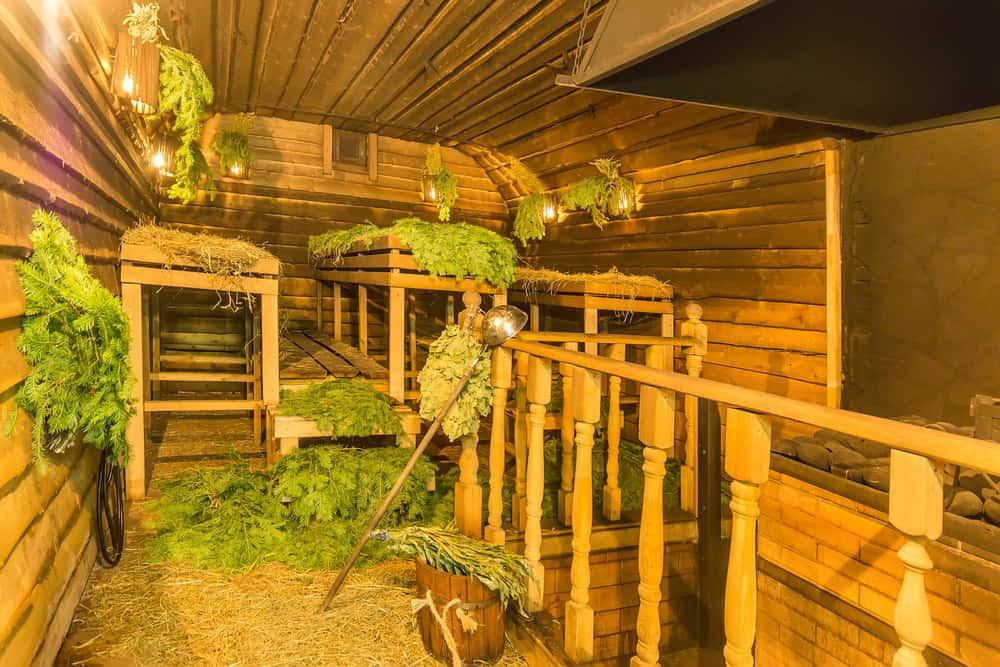 Interior of a traditional wood-burning sauna