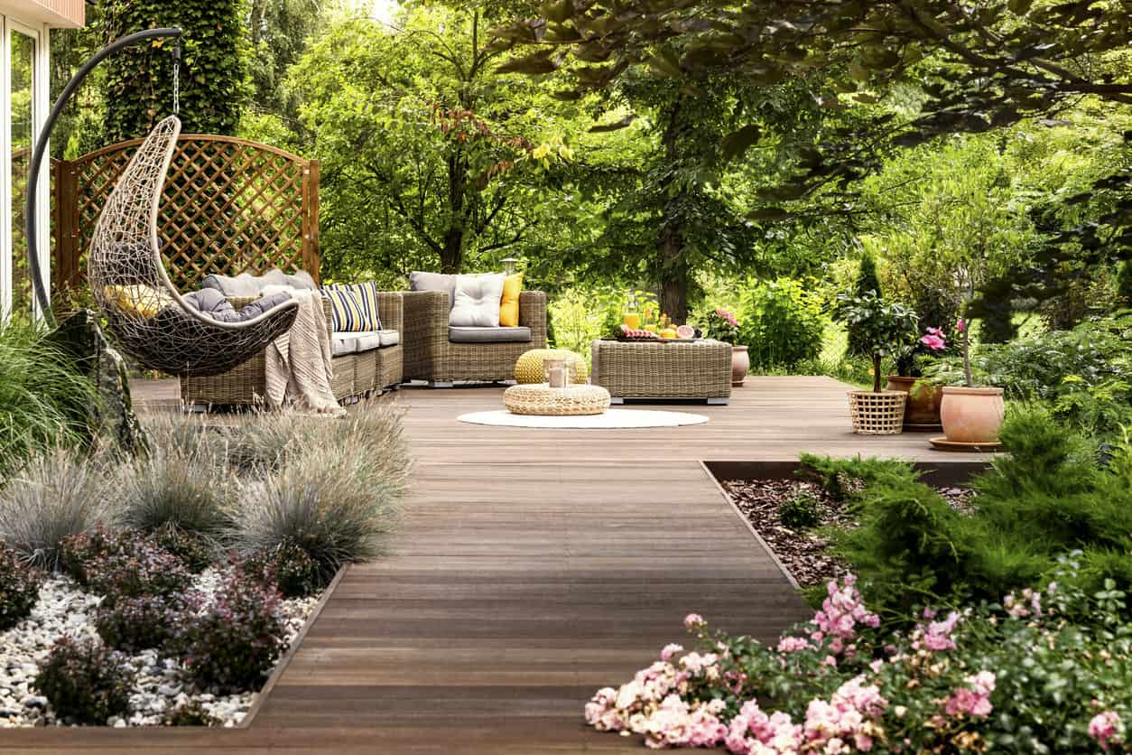Deck surrounded by a garden