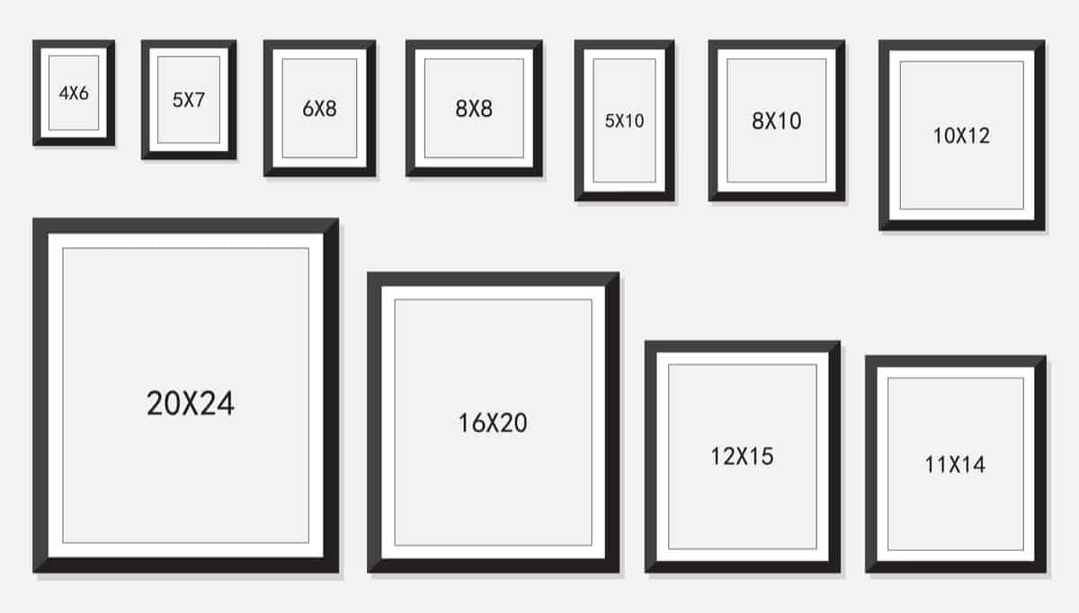 Standard picture frame sizes chart