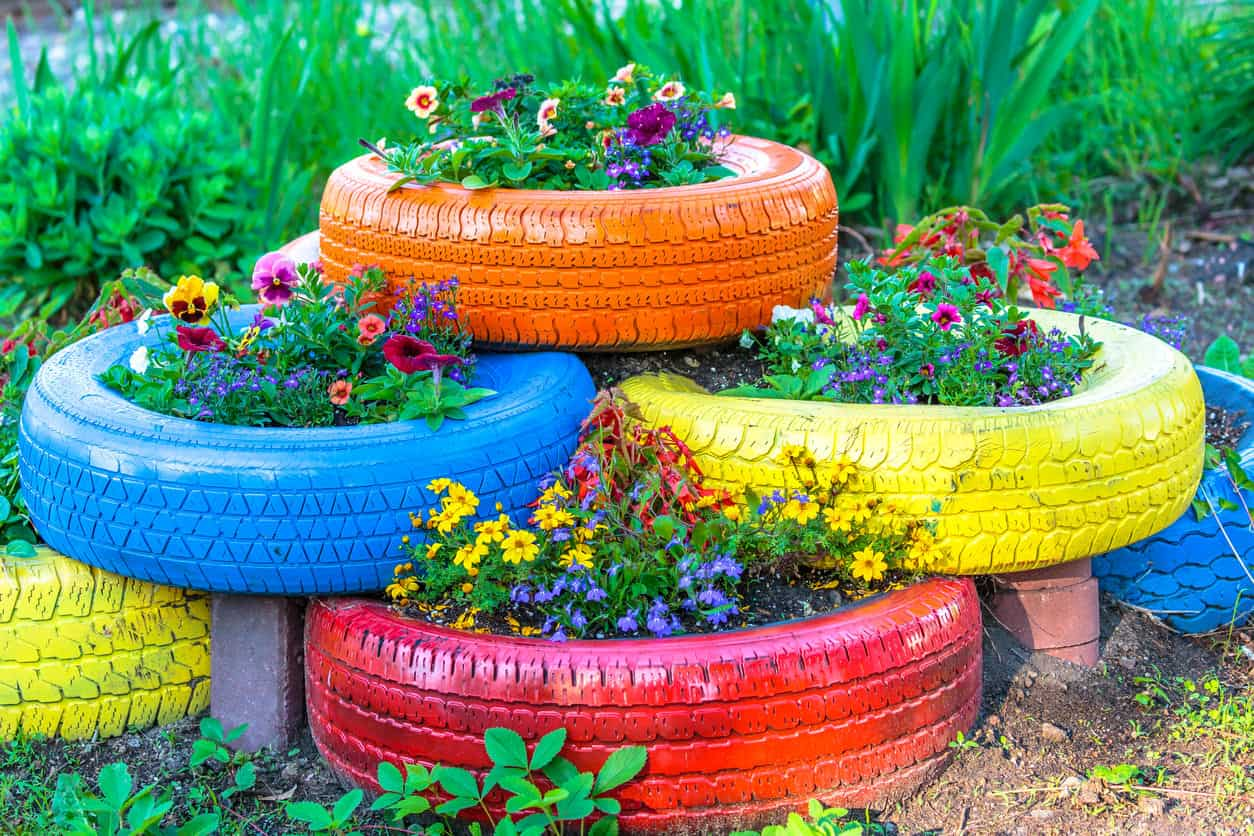 Colored Tires used as flower planters