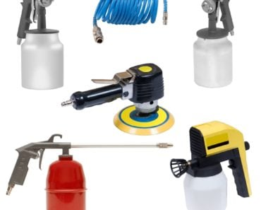 A set of air tools such as paint sprayer, pneumatic srewdriver, air tub, and pneumatic sander, among others.