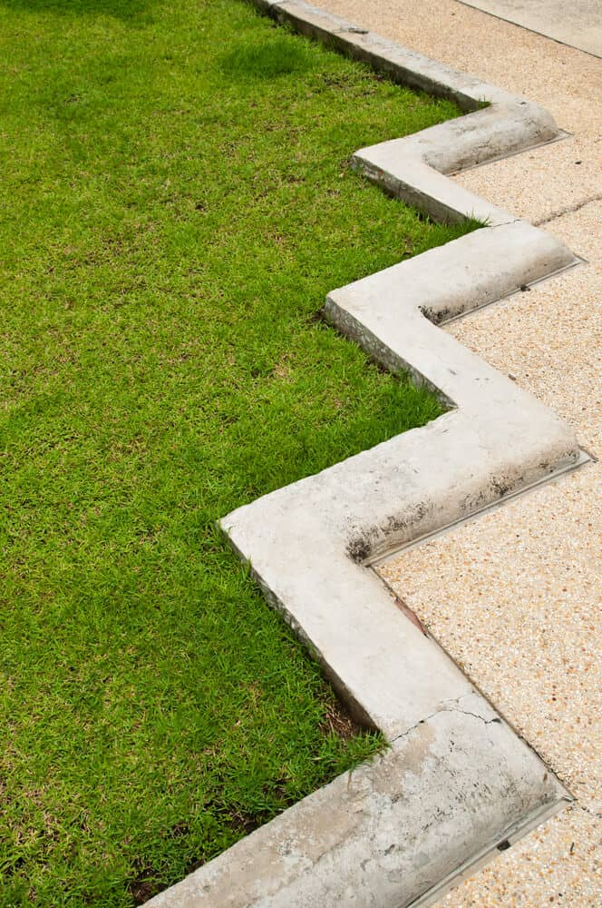 A lawn with an angular type of edge.