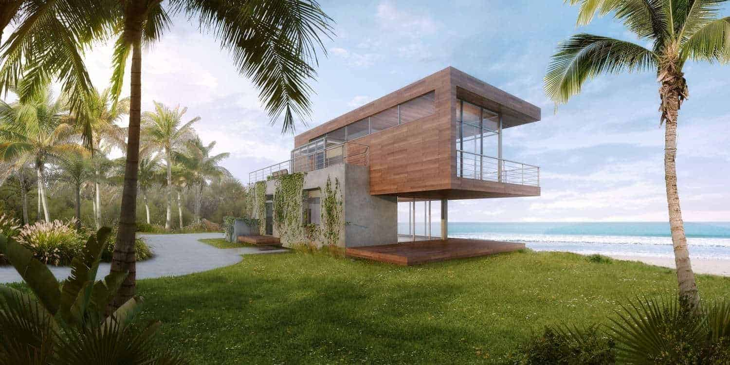 A modern beach-side house with a wooden exterior and a stunning front yard.