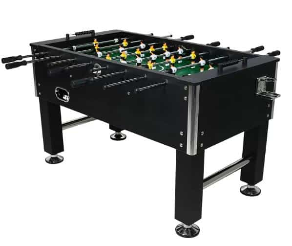 An all-black foosball table with drink holders, perfect for parties and game nights.