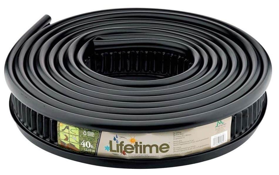 Black, recycled plastic lawn edgin f=great for in-ground installations.