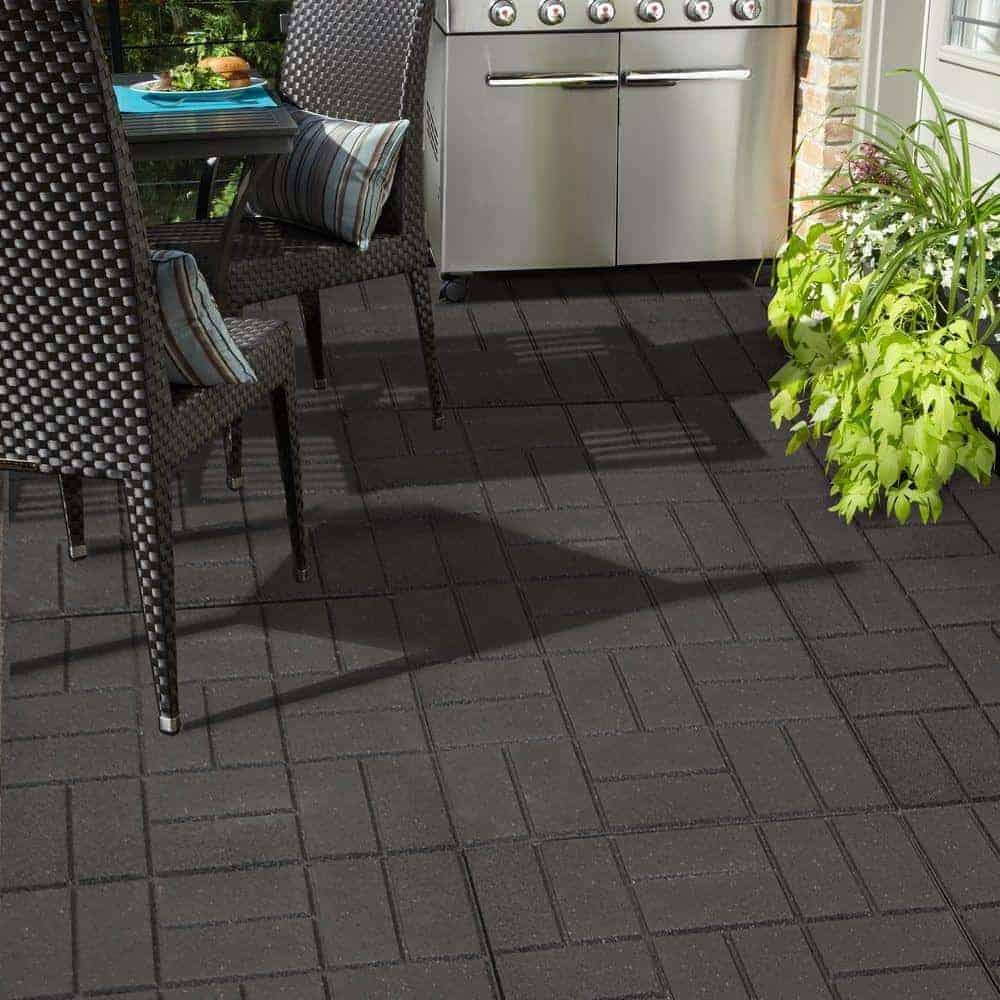 Black rubber paver patio