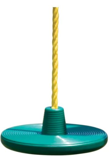 A blue disc swing with a yellow rope.