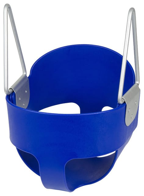 Blue plastic swing with stainless steel.