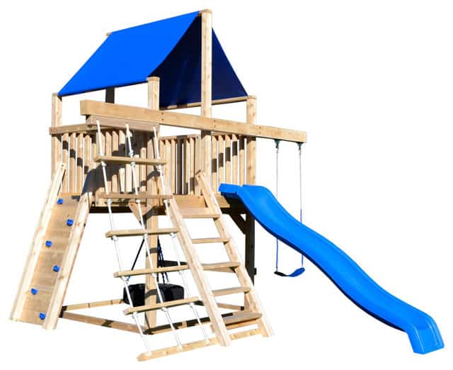 Wooden play set with a blue roof and slide.