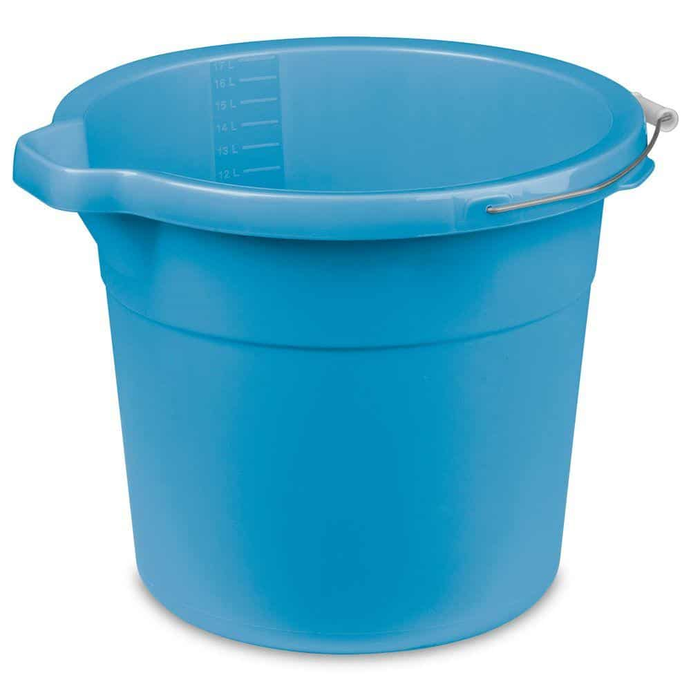 Blue plastic bucket with spout.