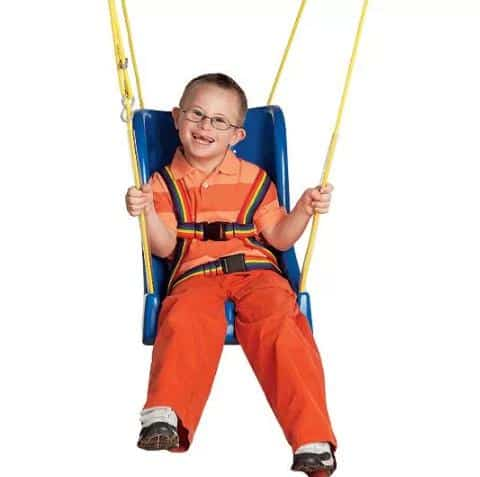 A blue swing for kids, with rainbow buckles included.