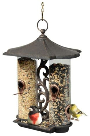 A double bird feeder with an easy-to-refill top.