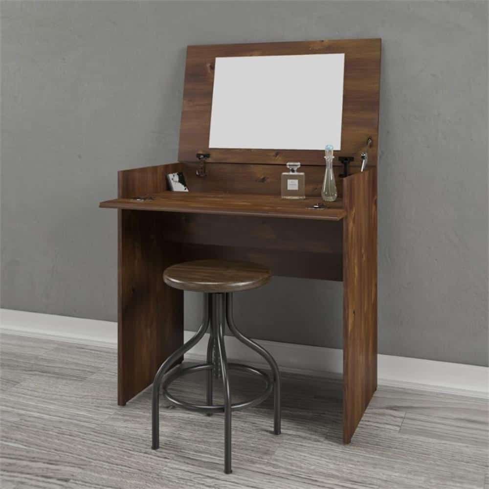 Brown particle board vanity with a rectangular mirror.