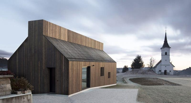 This house has a stylish wooden exterior.