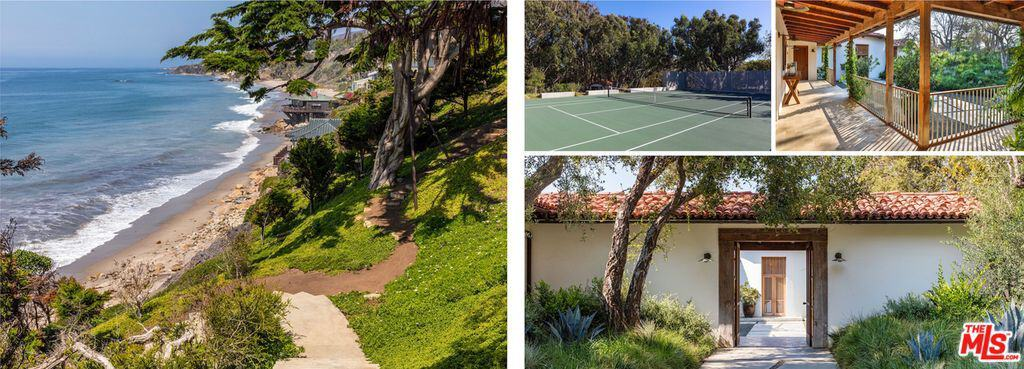 The property offers magnificent landscaping as well as a tennis court and walkways.