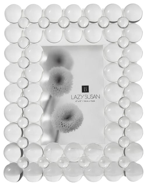 Clear, crystal picture frame with bubbles as design.