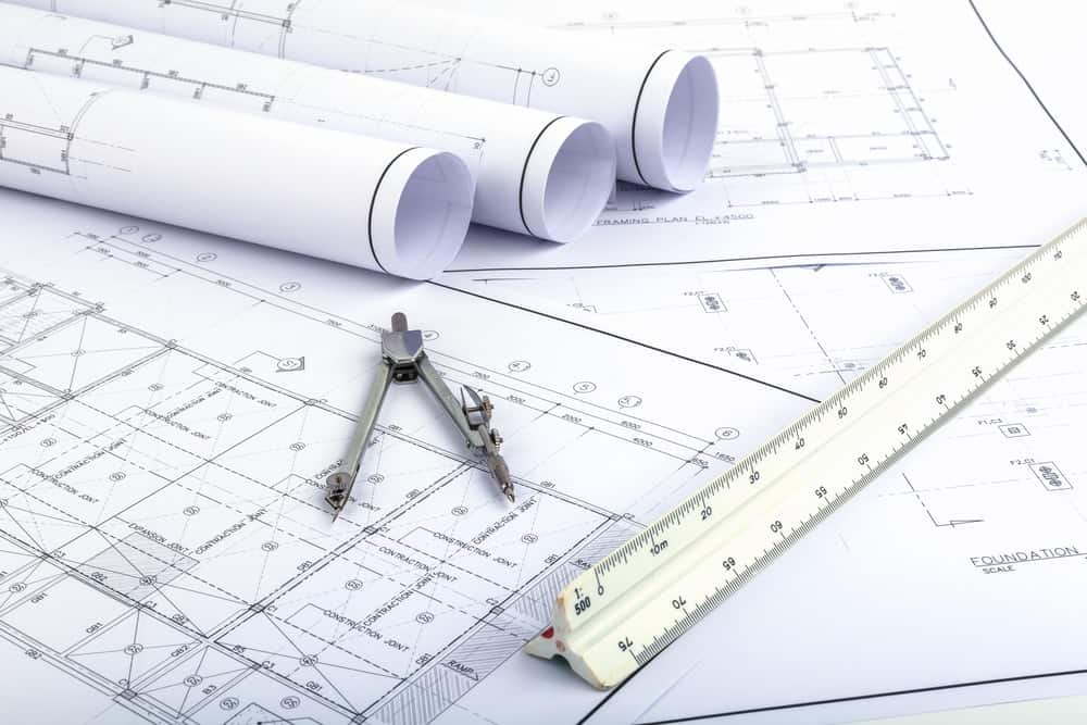 A compass is often used to make architectural drawings.