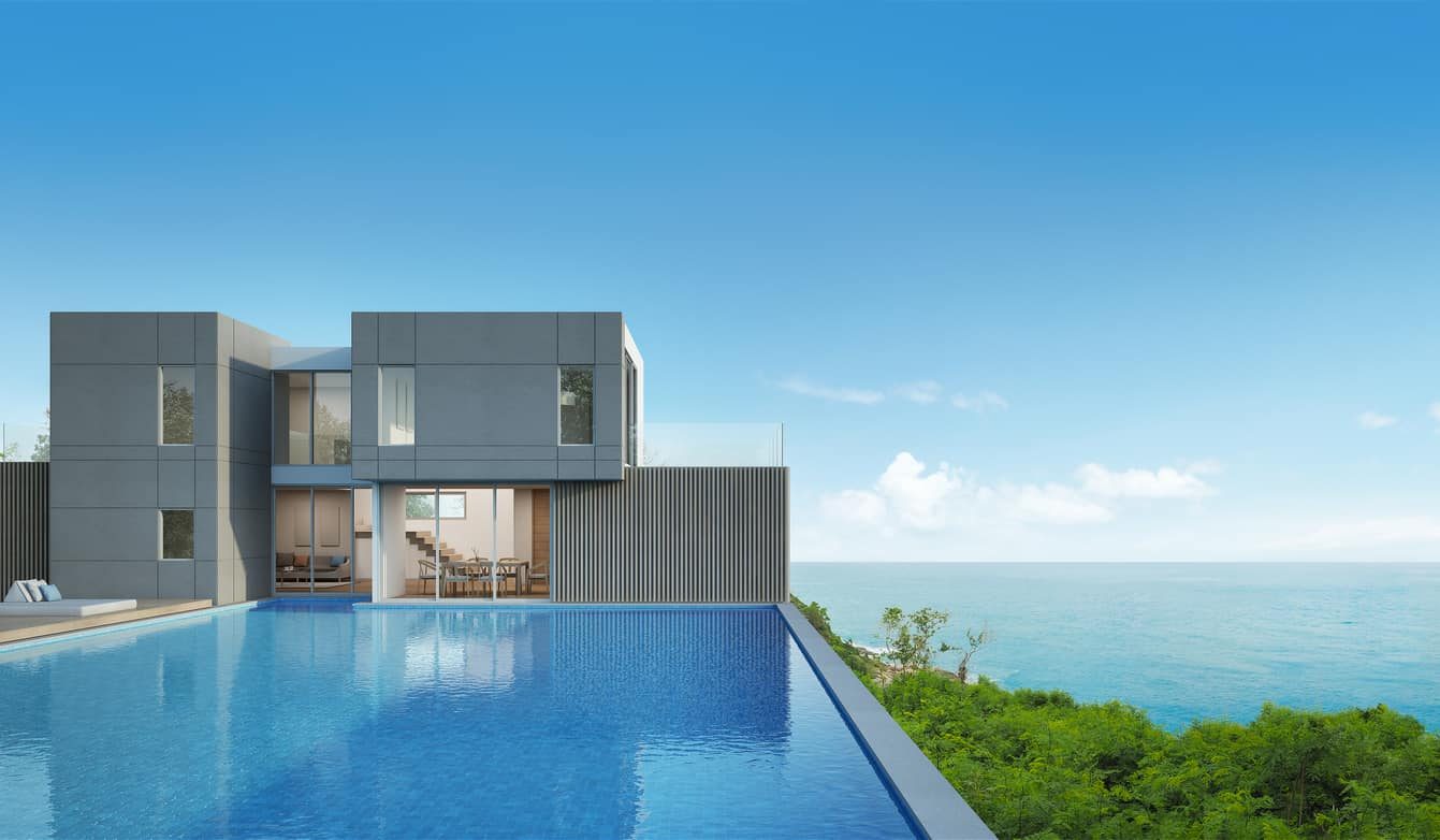 3D rendering of a modern concrete beach house with large pool.