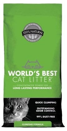 World's Best Cat Litter made of 100% natural whole kennel corn.
