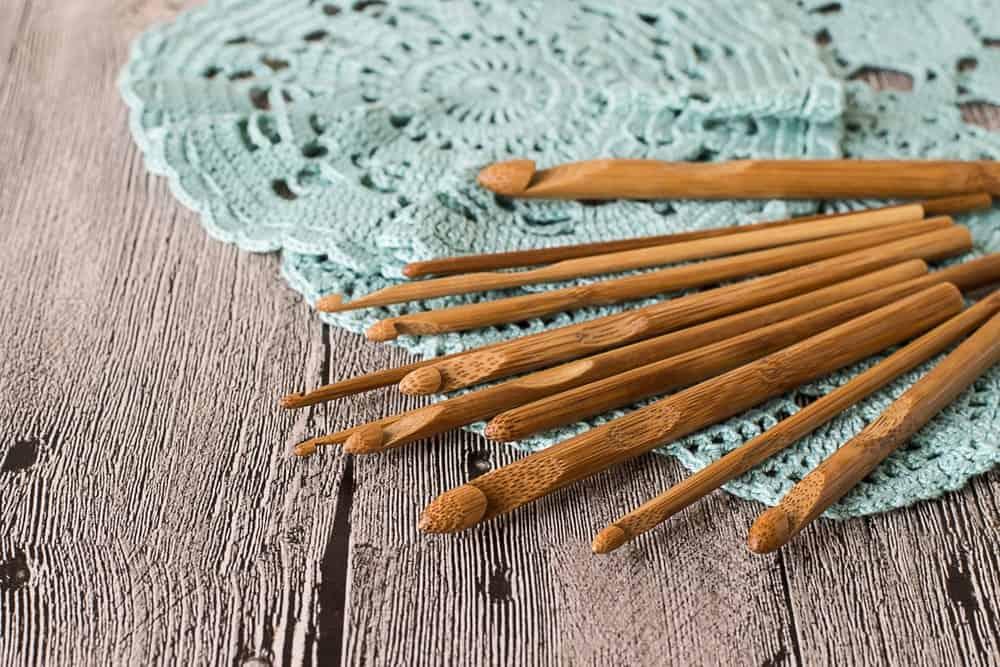 Wooden crochet hooks.