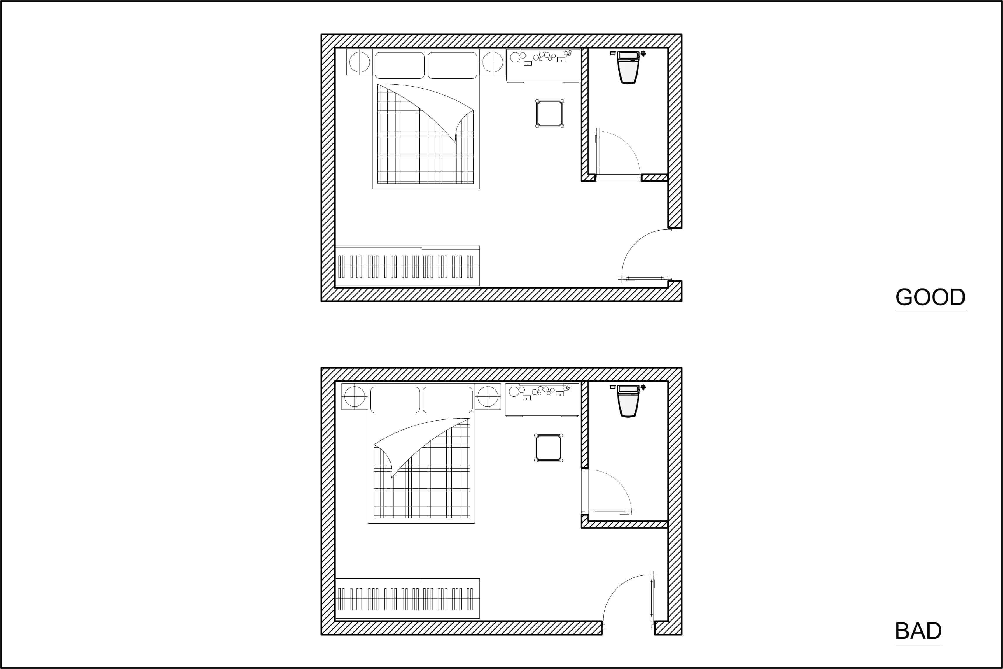 Layout diagram of bedroom door location for optimal bedroom Feng Shui