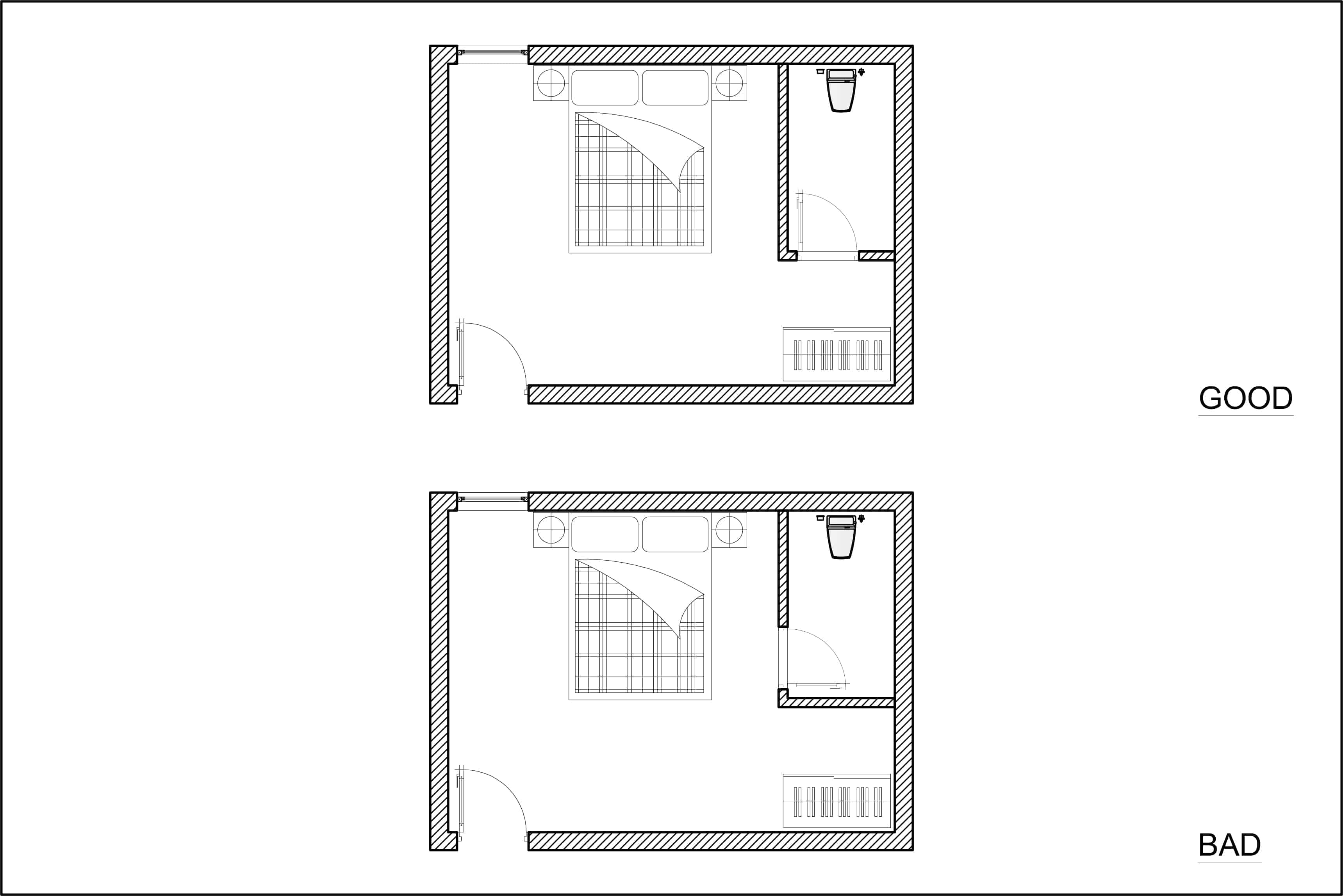 Layout diagram of good and bad bedroom en suite door location