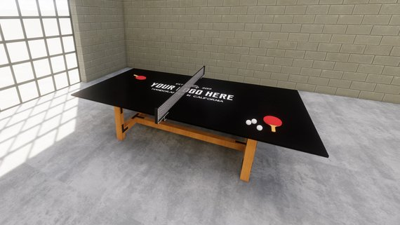 Custom ping-pong table with black tabletop and wooden legs standing on concrete flooring in a room with beige brick walls and glazed walls.