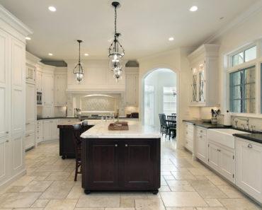 Luxury white kitchen with dark island cabinet with white island countertop