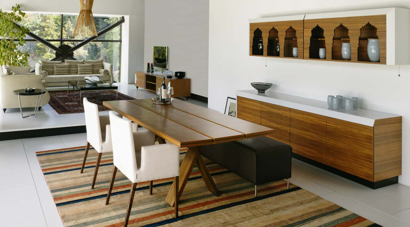 Contemporary Dining Room Adjacent To The Living Design Style Here Is Meets