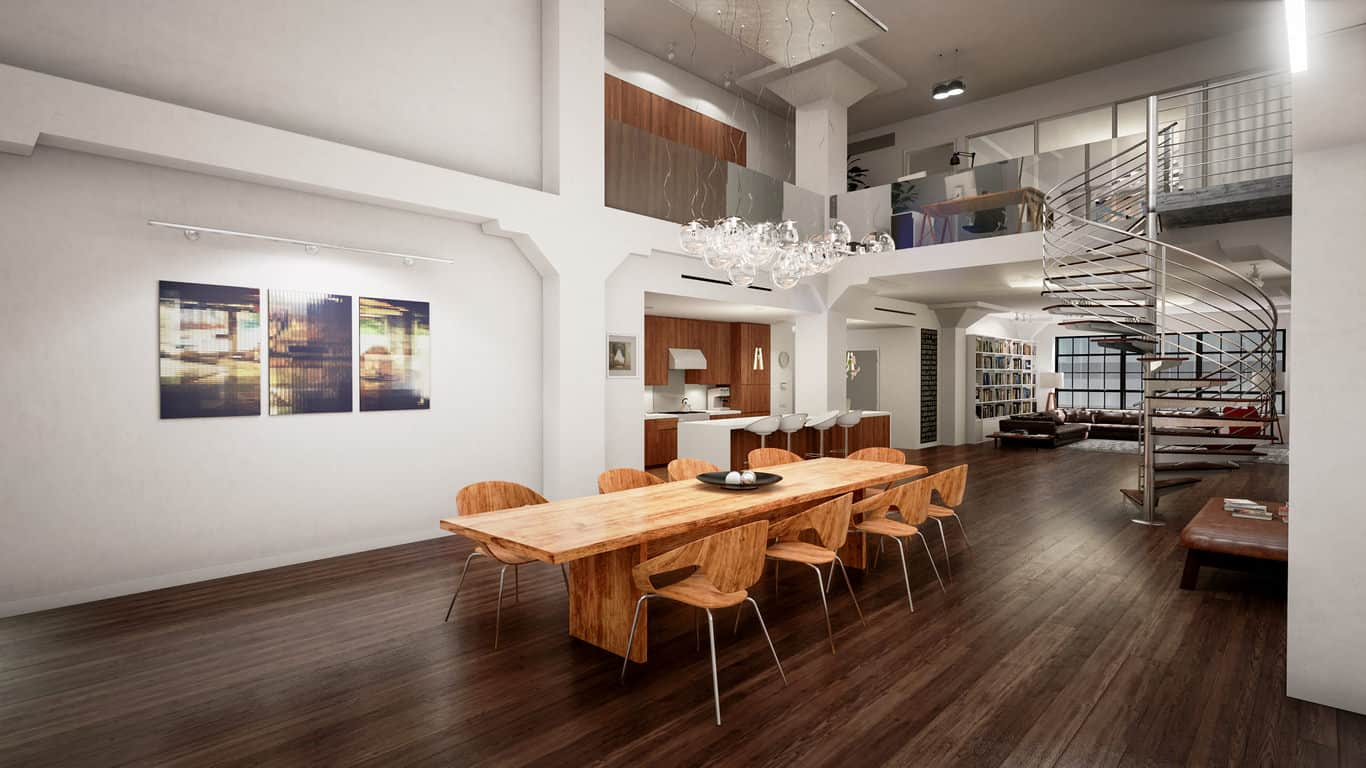 Huge open concept modern home with long custom wood dining table and matching wood chairs that accommodates 10 people very comfortably. I love juxtaposition of the light wood dining room furniture against the dark wood flooring and chrome circular staircase.