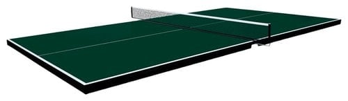 Ping-pong tabletop made of green fabric.