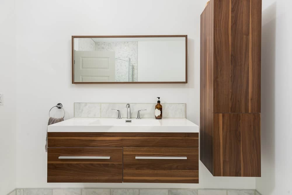 A floating vanity with a matte and smooth finish on its surface.