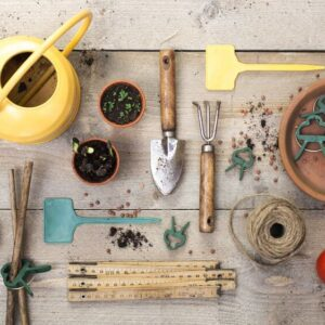A collection of gardening tools that include a sprinkler, small rake, shears, and snips, among others.