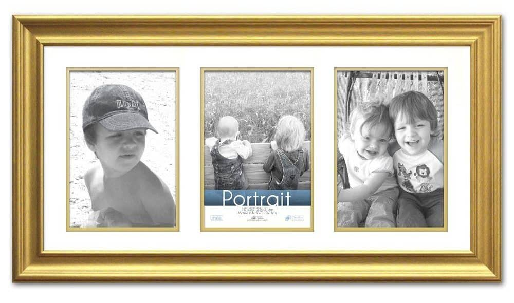 Gold, matted picture frame that can accommodate three photos.