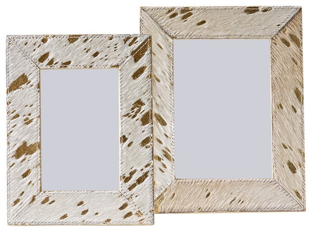 White leather picture frame with specks of gold.