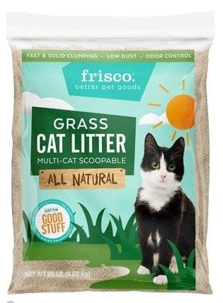 Frisco cat litter made of grass.