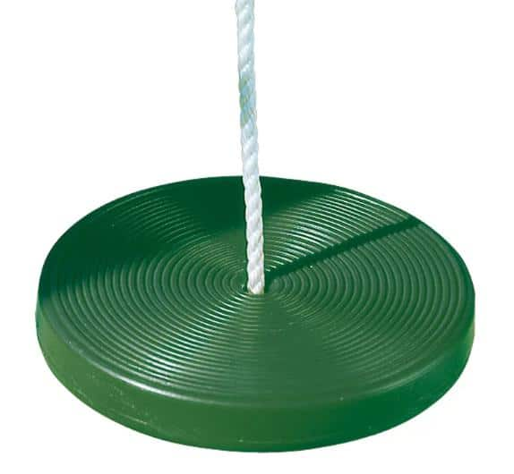 Green disc swing with a white rope.
