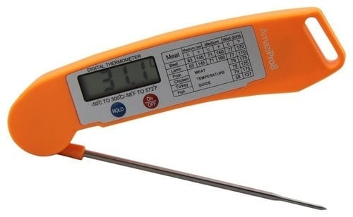 Instant read thermometer for kitchen, orange.