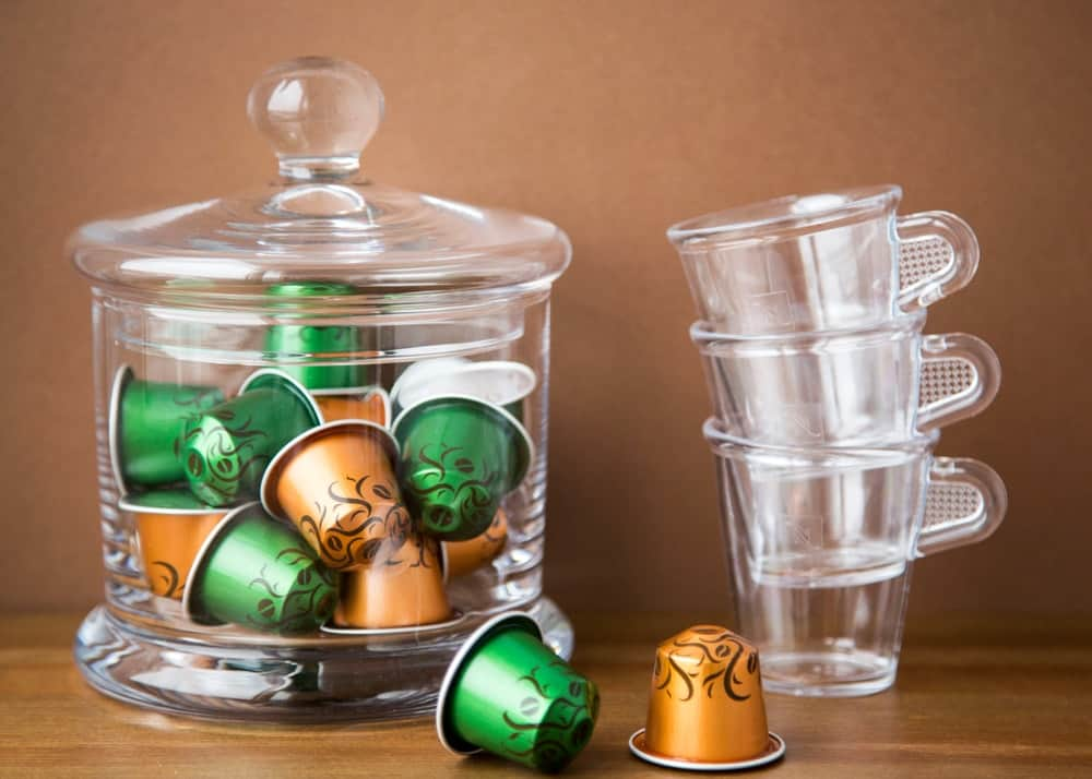 K-cup storage made out of glass