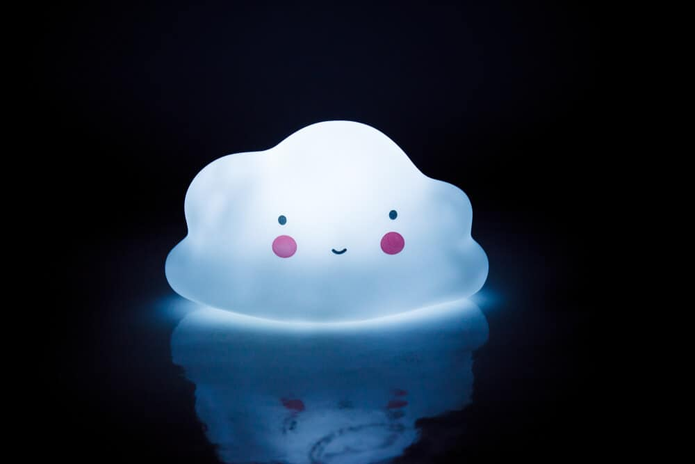 A cute cloud-shaped night light for kids.