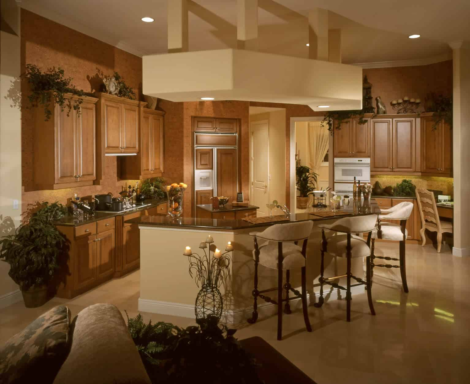 Kitchen island ideas Lighting Natural Tones Throughout This Space With Cshape Island Complete With Dining Seating Home Stratosphere 90 Different Kitchen Island Ideas And Designs photos