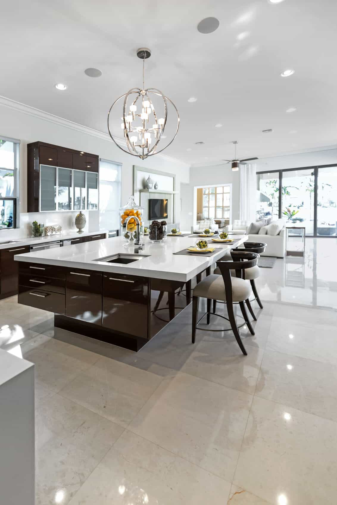 Large Modern White And Dark Brown Kitchen With Huge Island Breakfast Bar