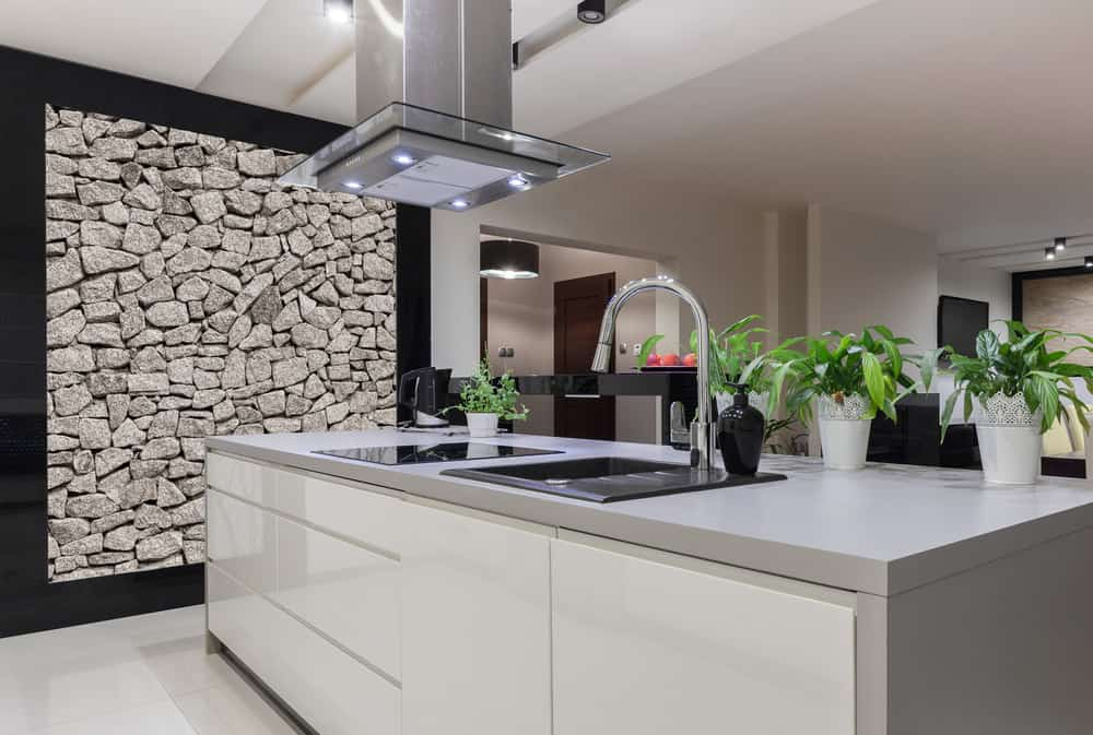 The reason I chose this kitchen to feature is because of the rock accent wall. I love that idea and it works so well in this kitchen by adding natural texture in an aesthetically pleasing way.