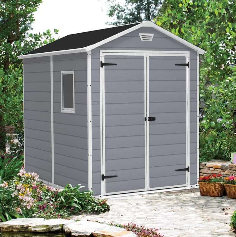 Gray lockable closet with black roof.