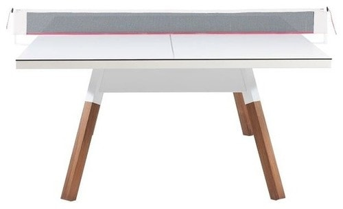 White ping-pong table with white tabletop made of manufactured wood.