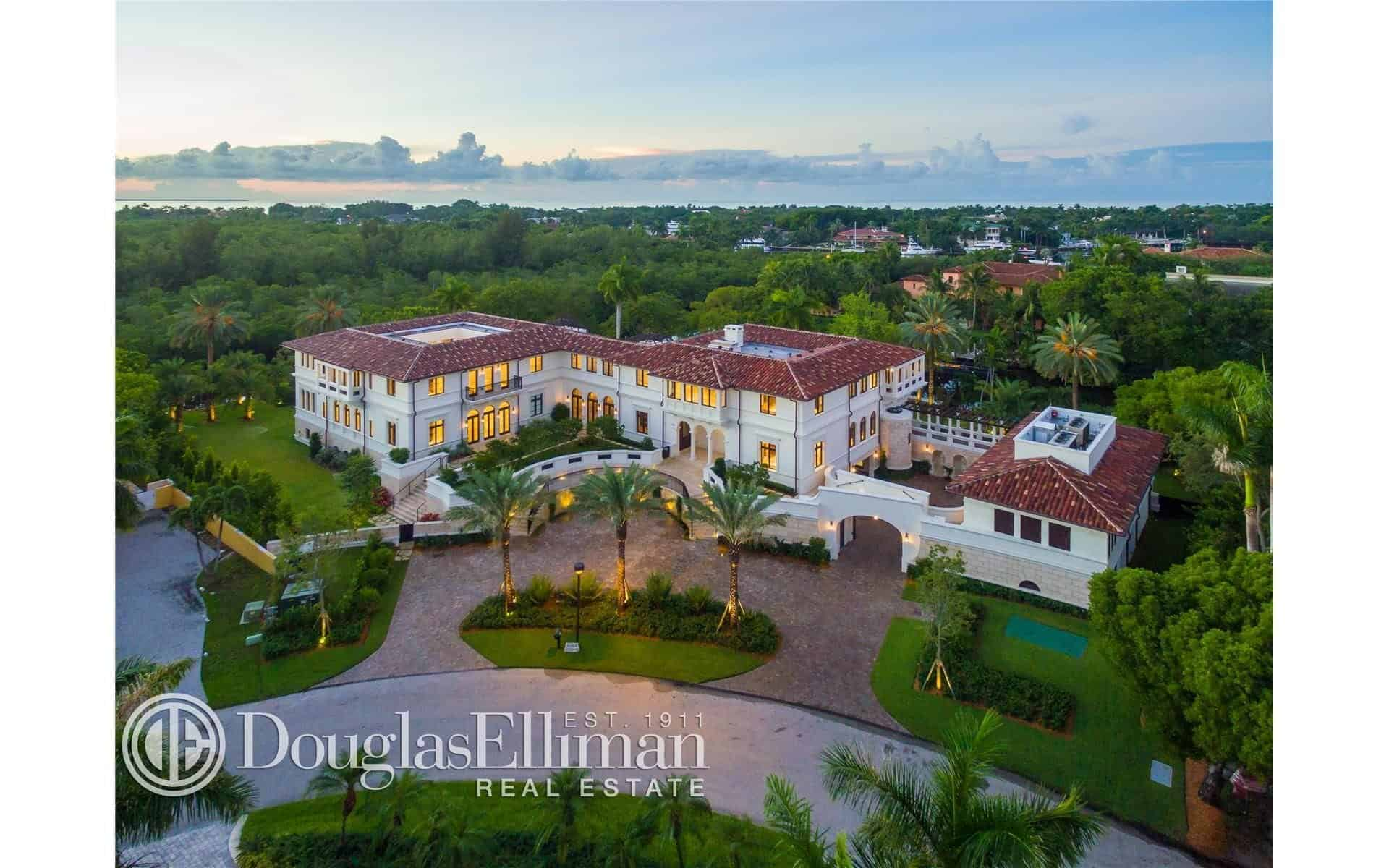Aerial view of the mansion showcasing the beautiful architecture and landscaping.